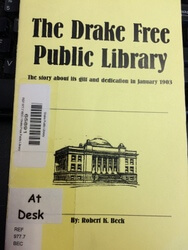 Image of historical pamphlet available at Drake Public Library.