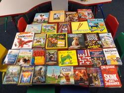 Table full of books