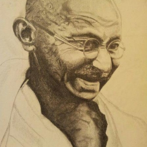 "Radhika Tailor - Leicester:  Self drawn canvas portrait of Mahatma Ghandhi.  ""As long as you derive inner help and comfort from anything, keep it"" - M.K.Ghandhi"