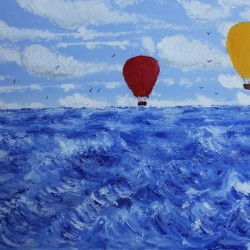 Hot Air Balloons Over a Stormy Sea