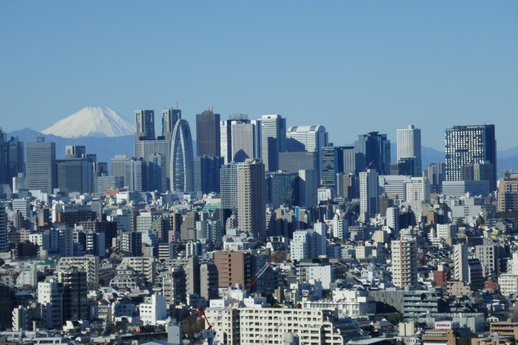 View of Mount Fuji and Shinjuku from Bunkyo Civic Centre
