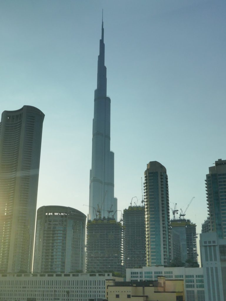 Seeing Burj Khalifa from the Dubai metro at sunrise