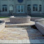 Travertine Walkway with Retaining Wall