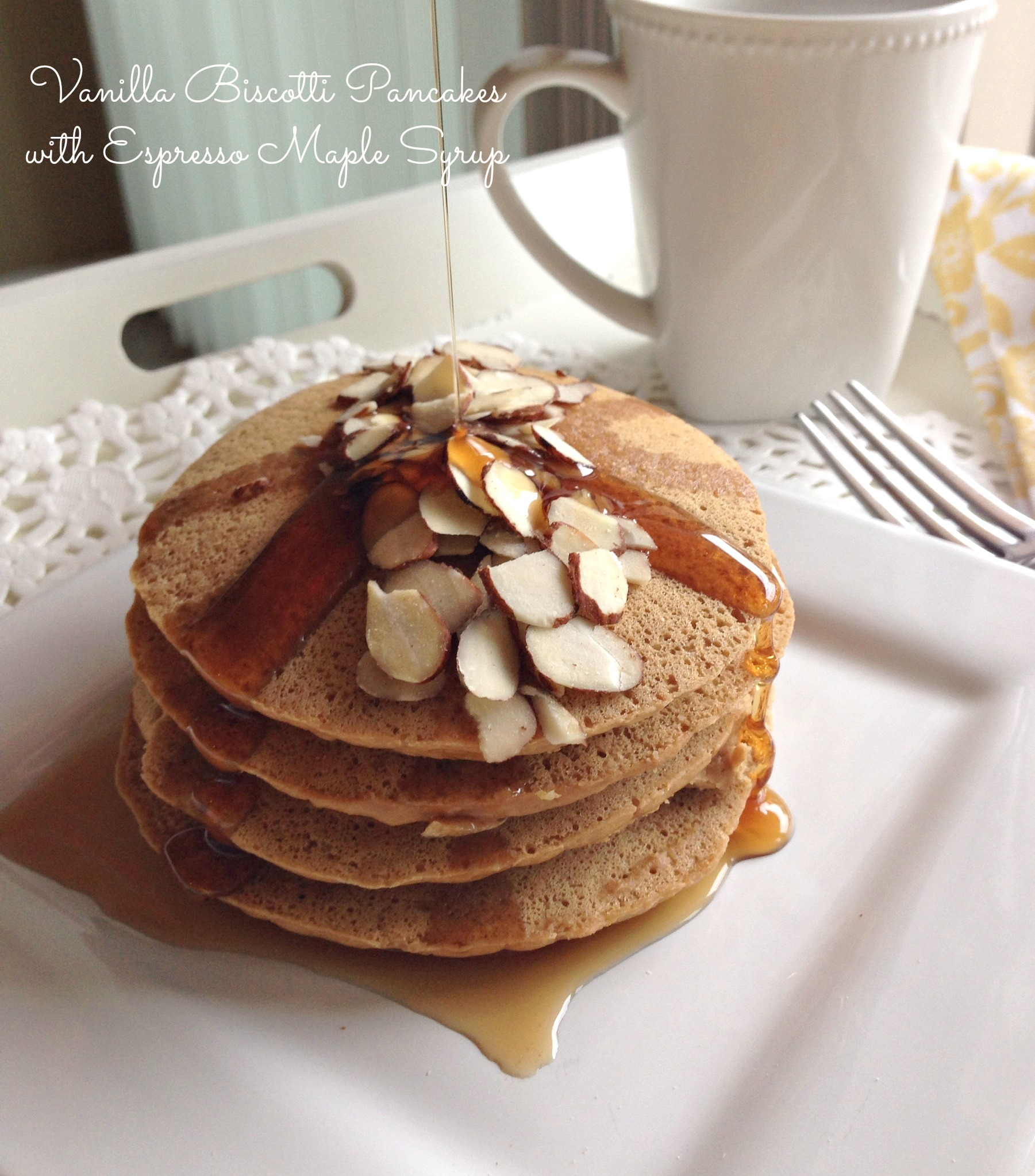 Vanilla Biscotti Protein Pancakes with Espresso Maple Syrup
