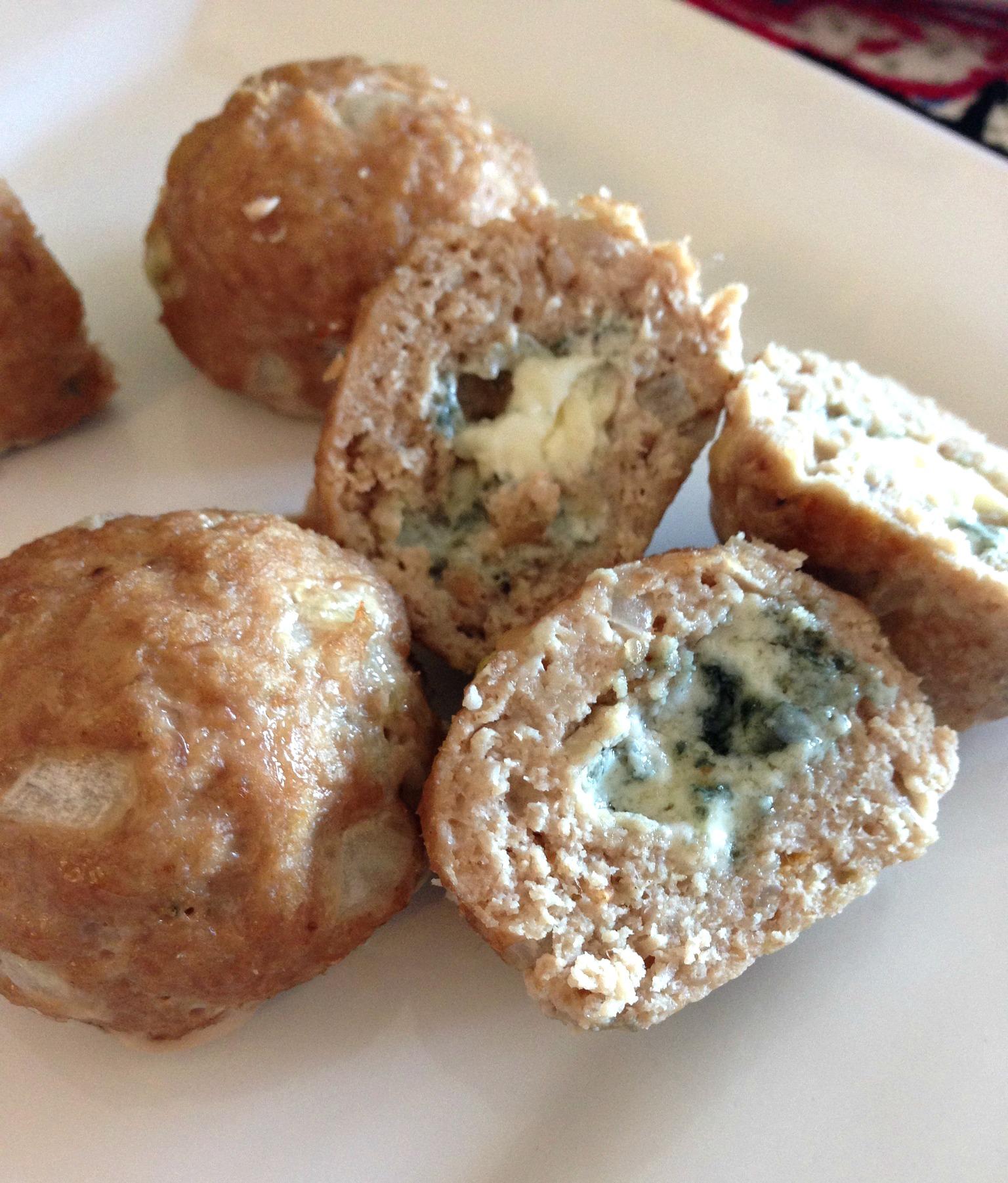 Blue Cheese stuffed Mini Turkey Meatballs