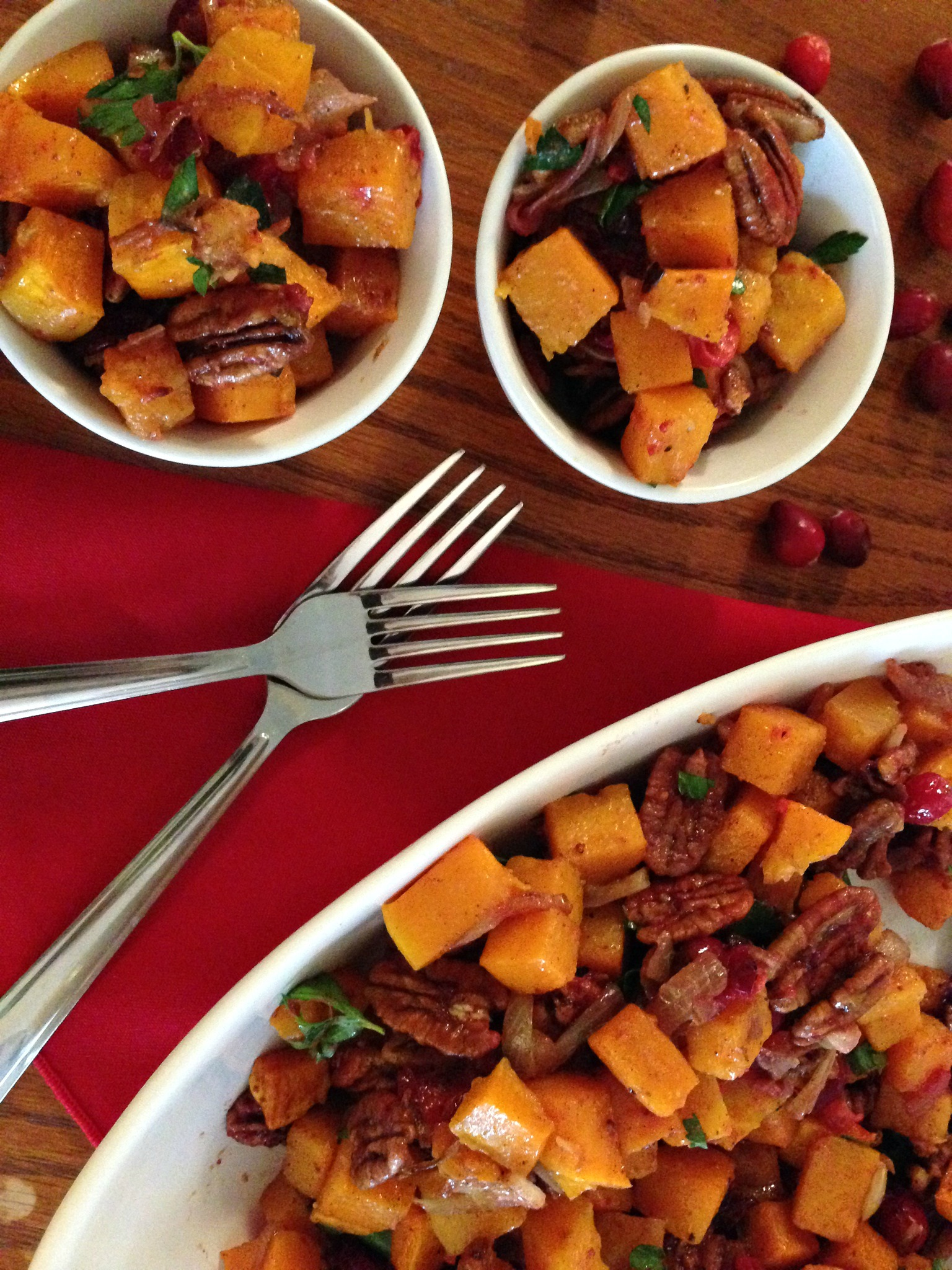 Roasted Butternut Squash with Cranberries & Glazed Pecans