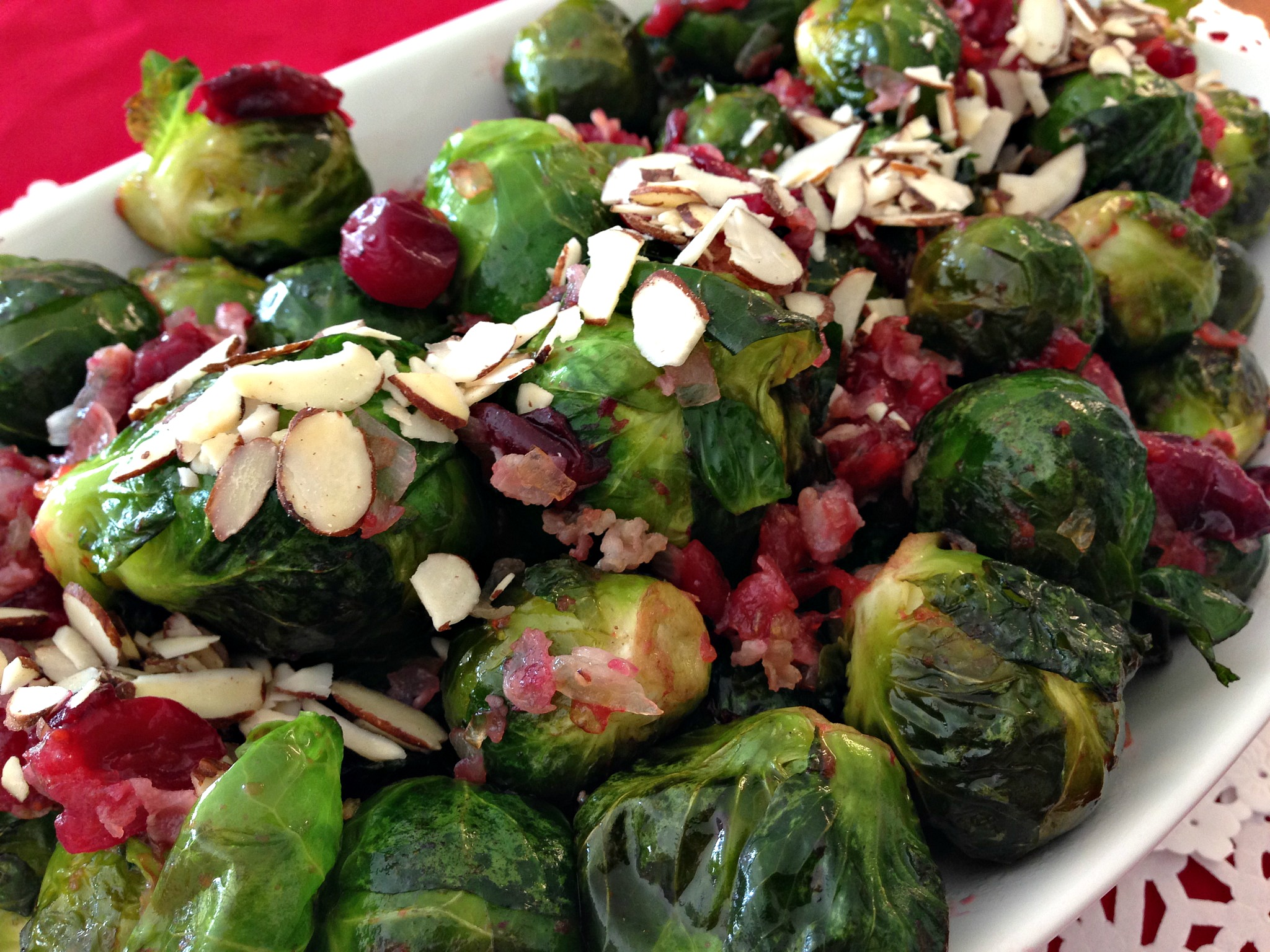 Maple Roasted Brussels Sprouts with Cranberries & Pancetta
