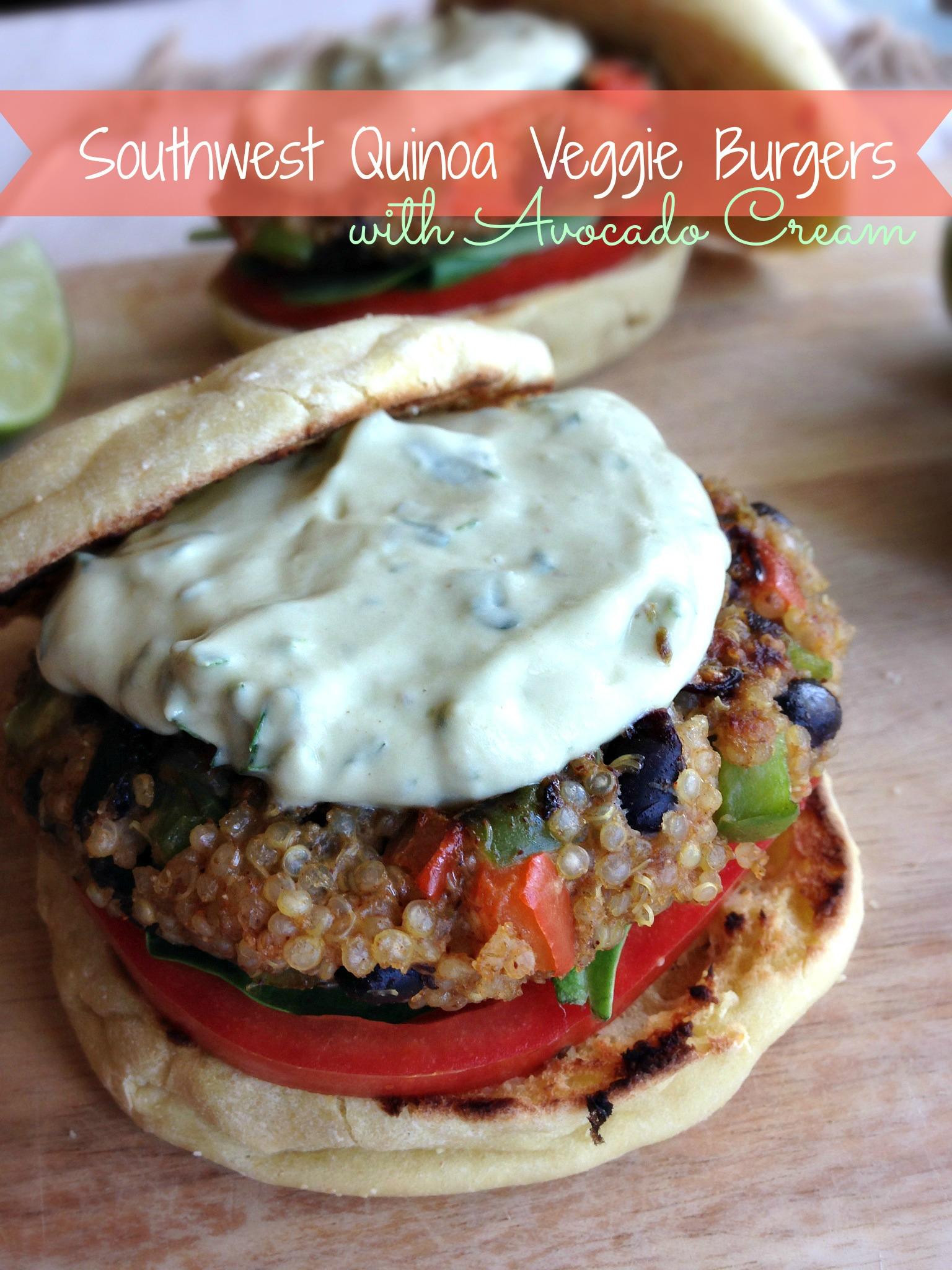 Southwest Quinoa Veggie Burgers with Avocado Cream
