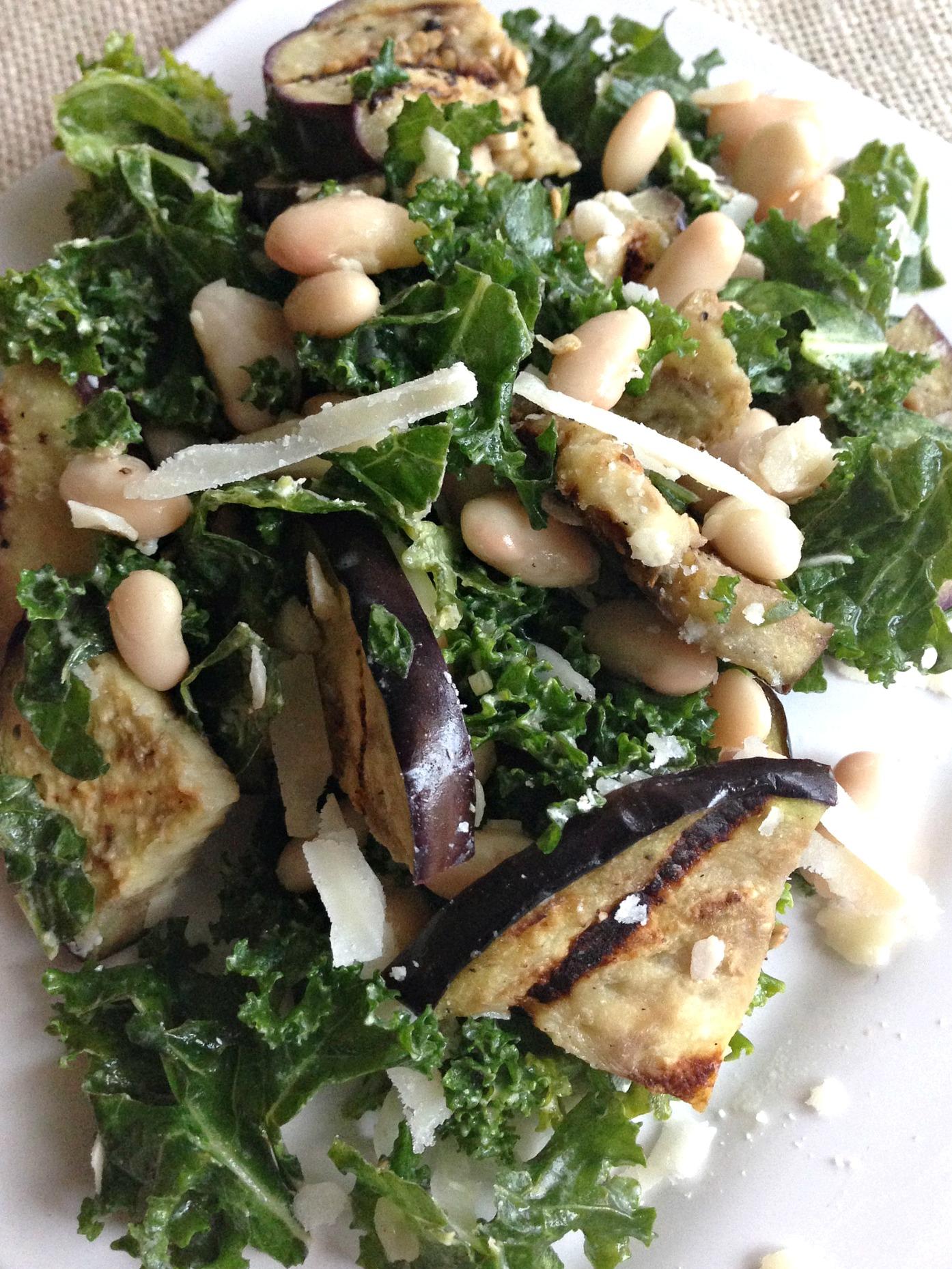 Eggplant and White Bean Kale Salad with Lemon Tahini Dressing