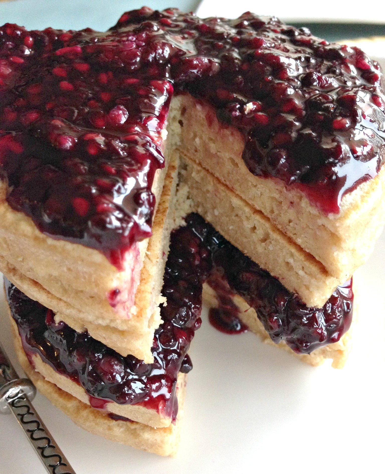 Whole Wheat Ricotta Pancakes with Blackberry Compote