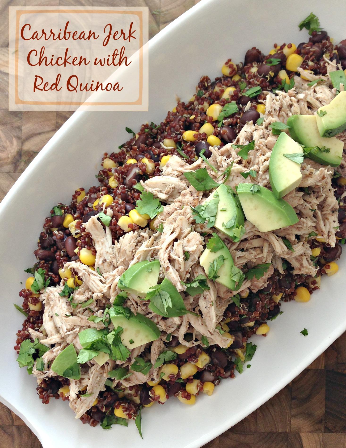 Slow Cooker Caribbean Jerk Chicken with Red Quinoa