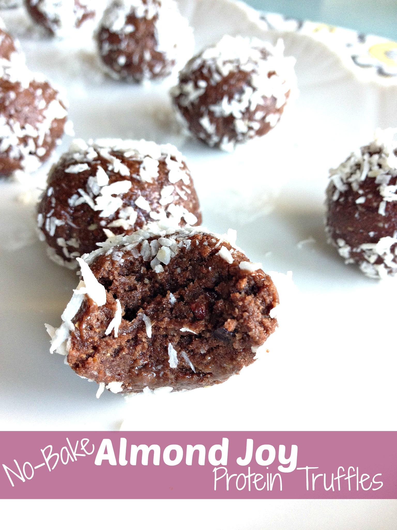 No-Bake Almond Joy Protein Truffles