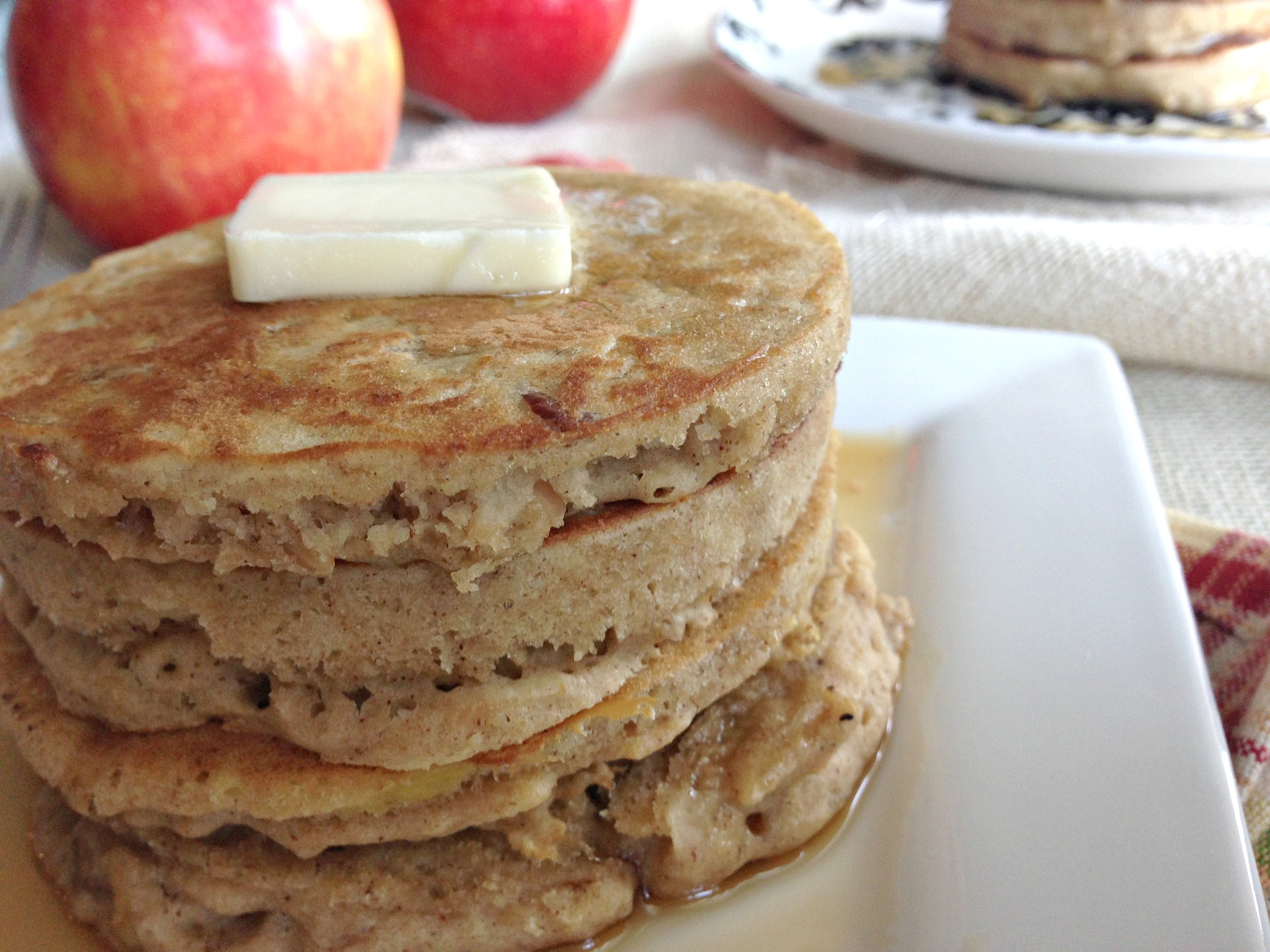 Whole Grain Apple Pie Pancakes with Vanilla Maple Syrup