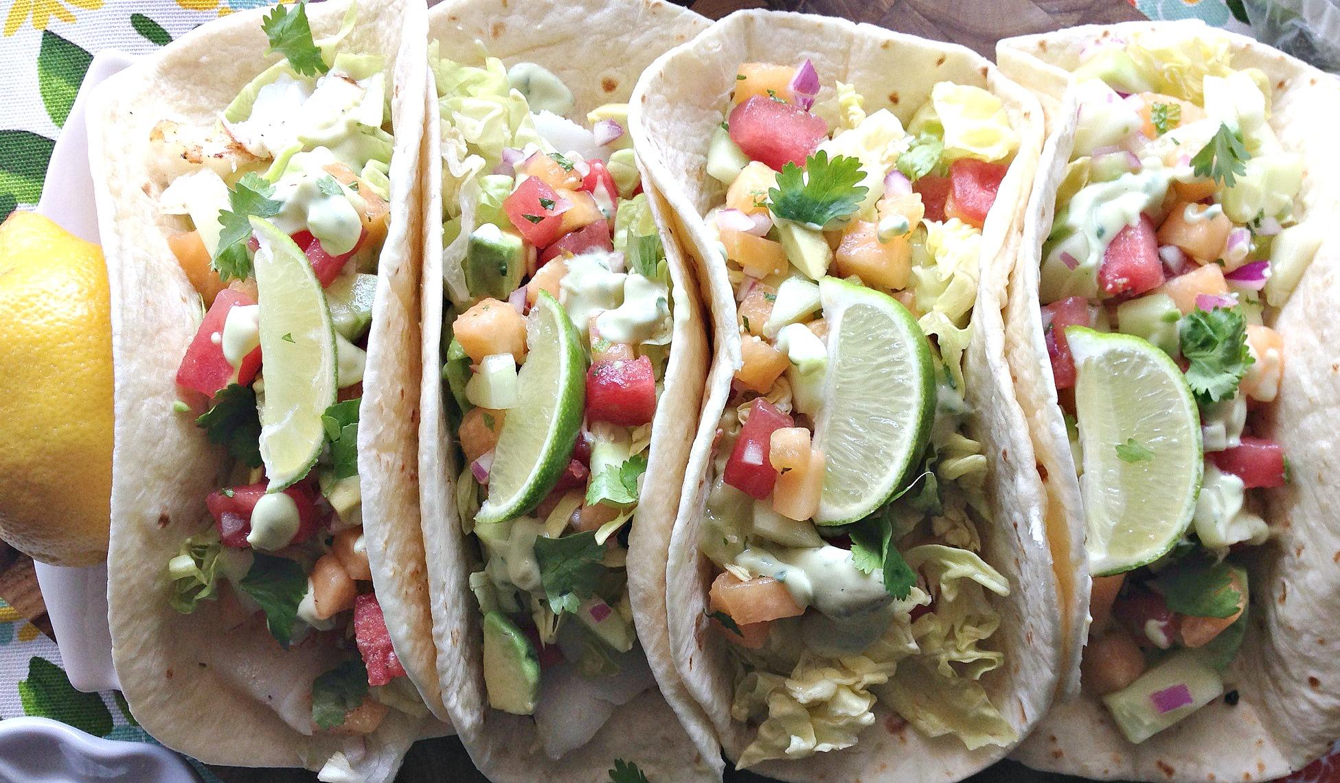 Fish Tacos with Melon Mint Salsa and Avocado Crema