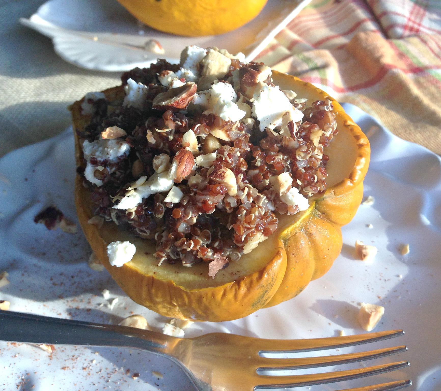 Maple Balsamic Quinoa Stuffed Acorn Squash