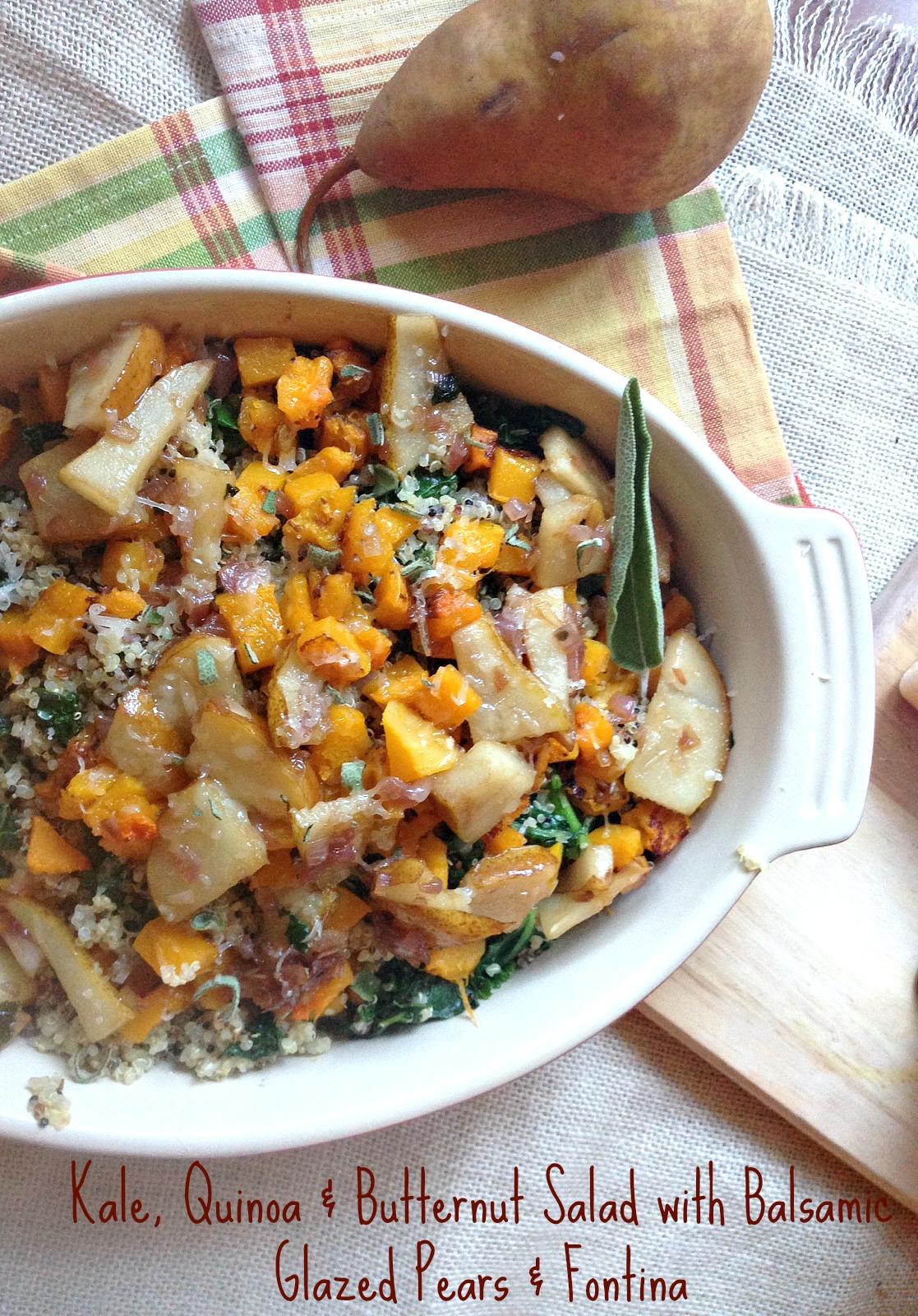 Kale, Quinoa & Butternut Salad with Balsamic-Glazed Pears & Fontina
