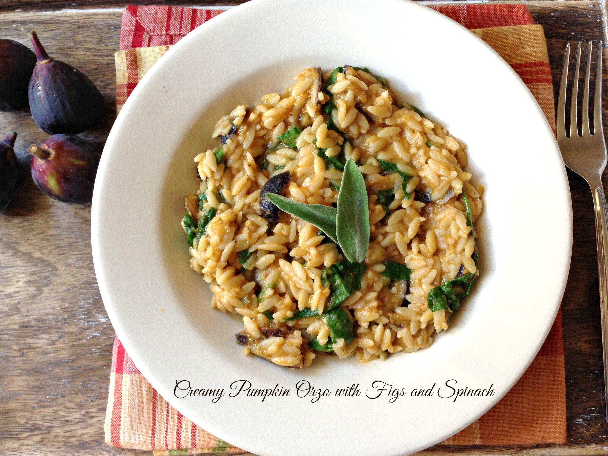 Creamy Pumpkin Orzo with Figs and Spinach