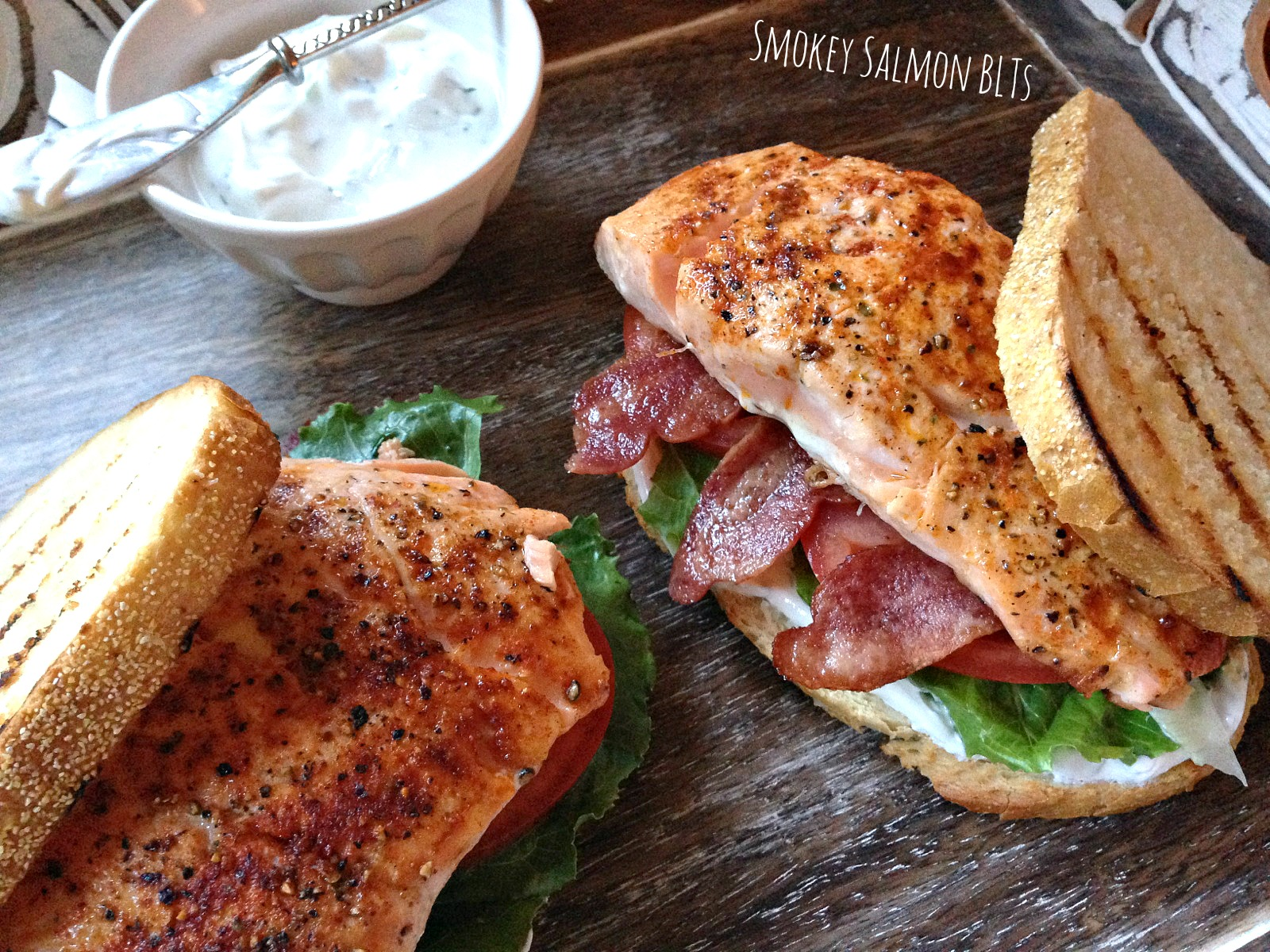 Smoky Salmon BLTs with Tangy Yogurt Spread