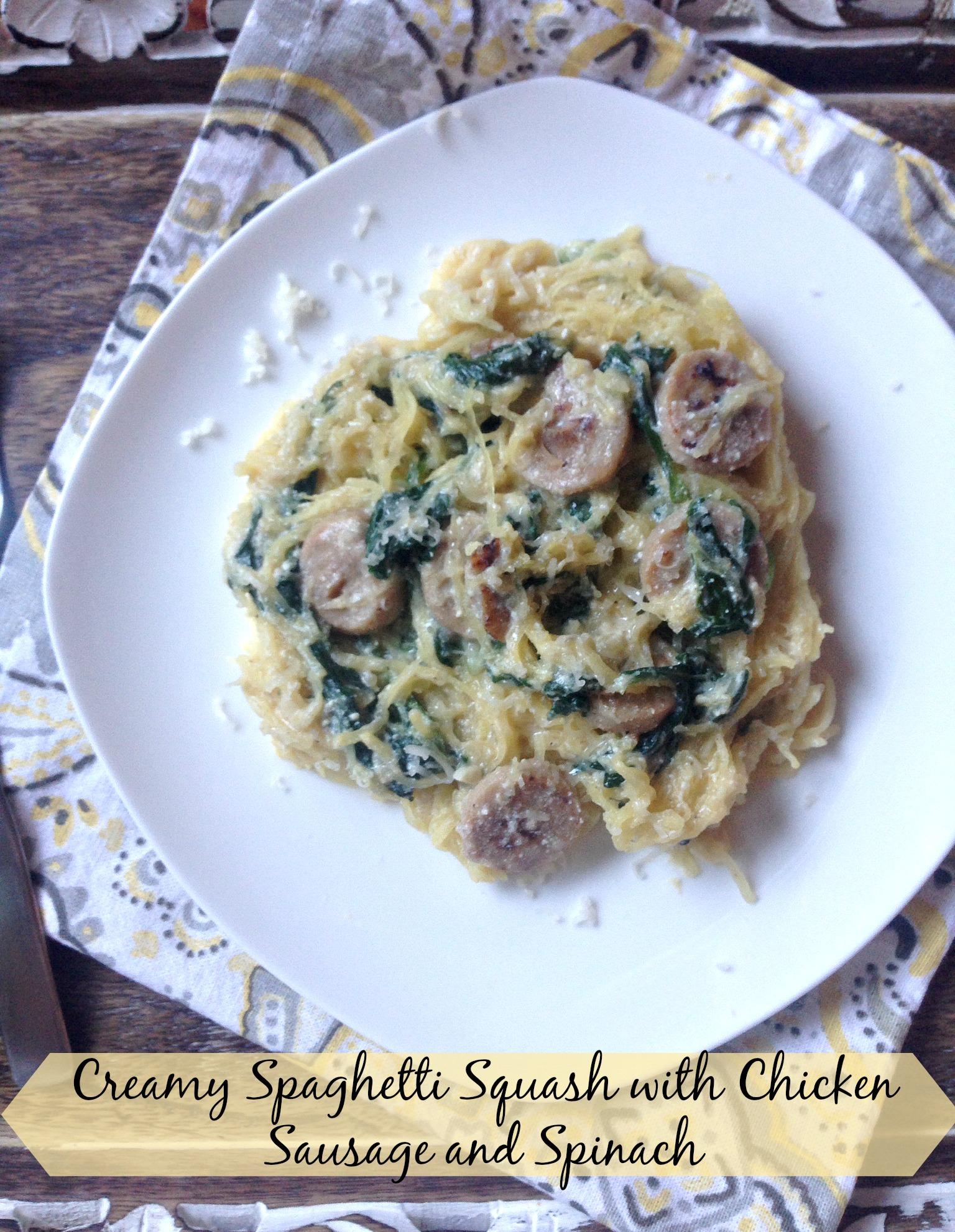 Creamy Spaghetti Squash with Chicken Sausage and Spinach