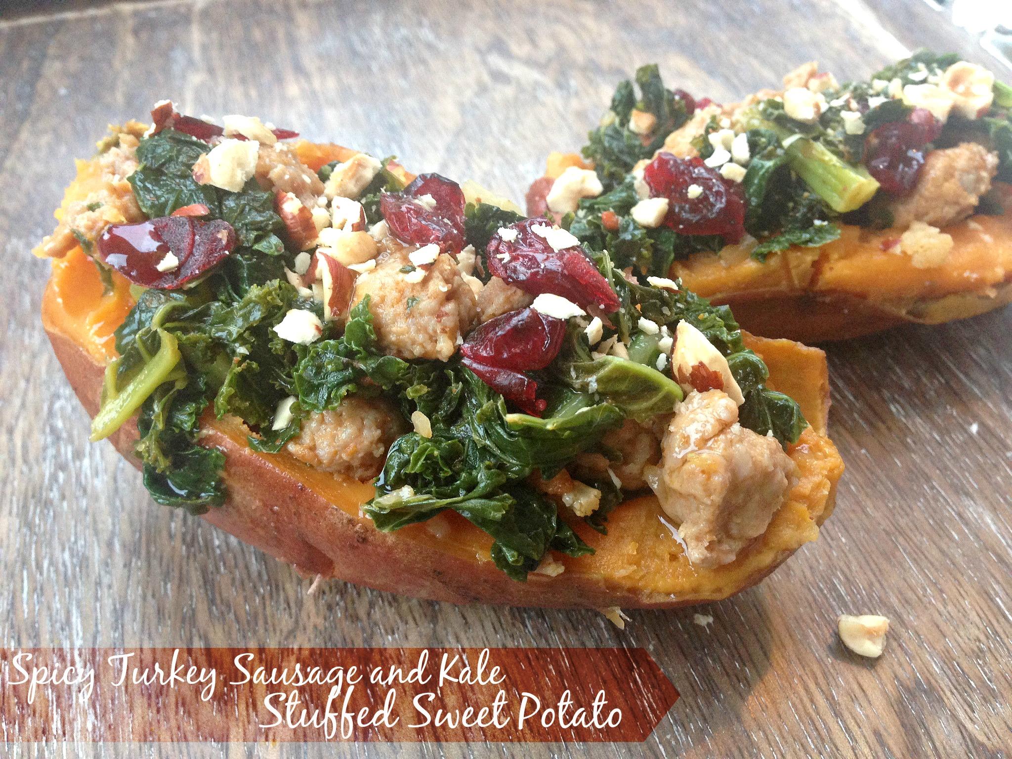 Spicy Turkey Sausage and Kale Stuffed Sweet Potatoes
