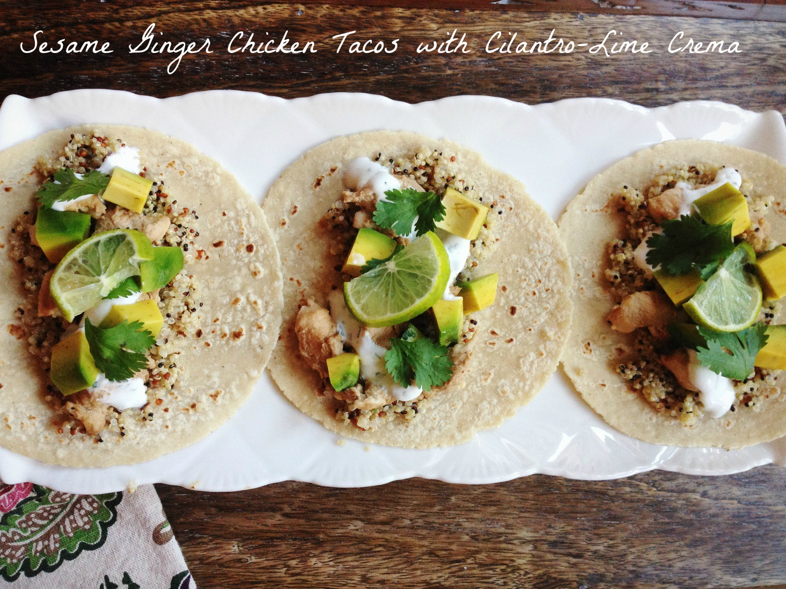 Sesame-Ginger Chicken Tacos with Cilantro-Lime Crema