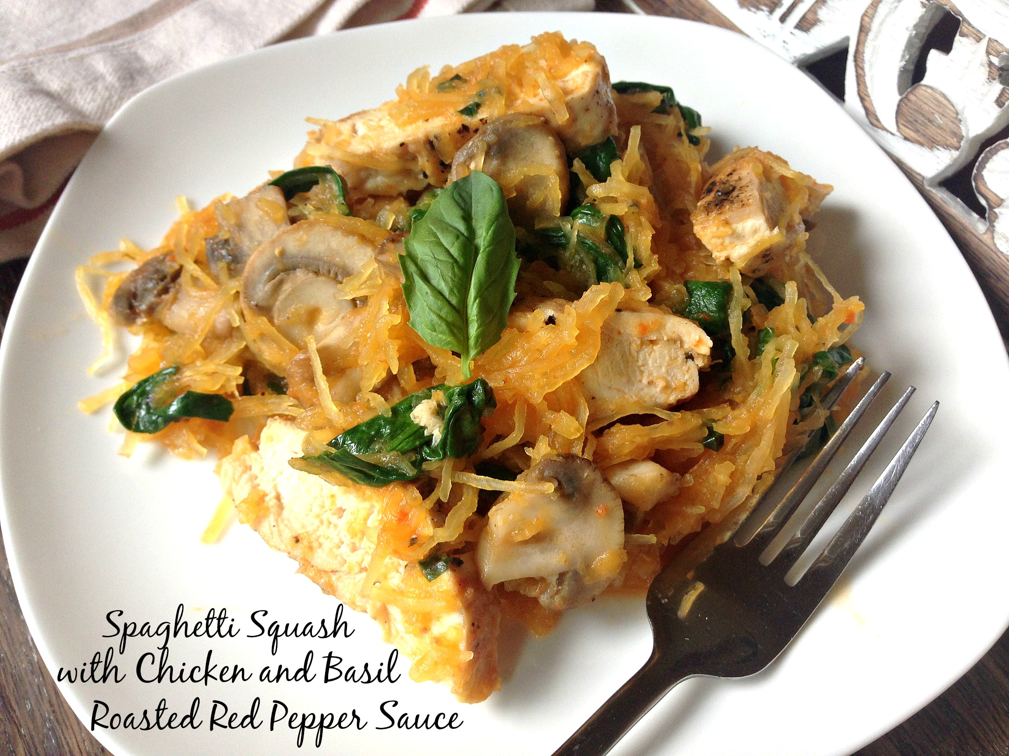 Spaghetti Squash with Chicken and Roasted Red Pepper Sauce
