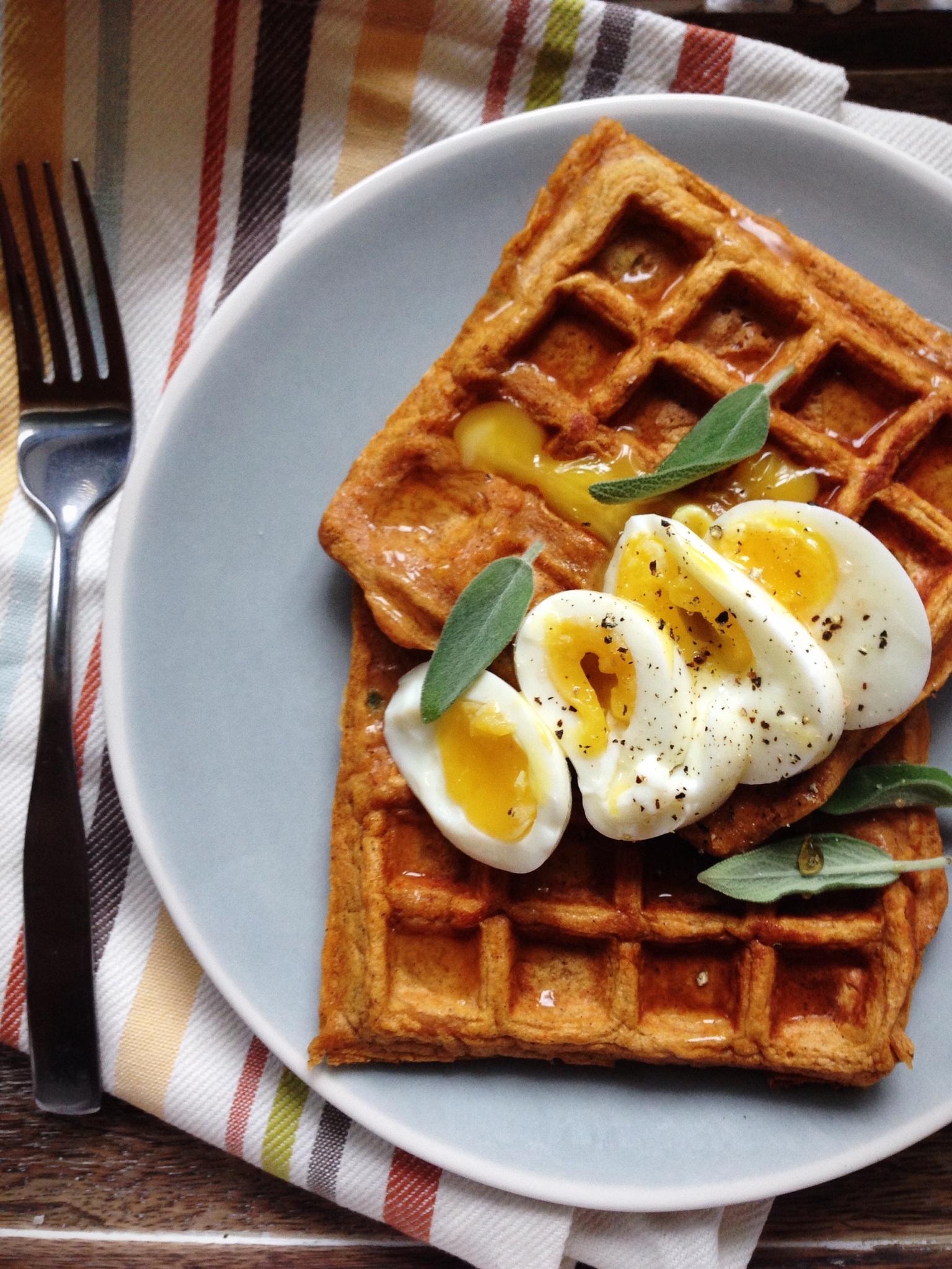 Sweet & Spicy Sweet Potato Waffles