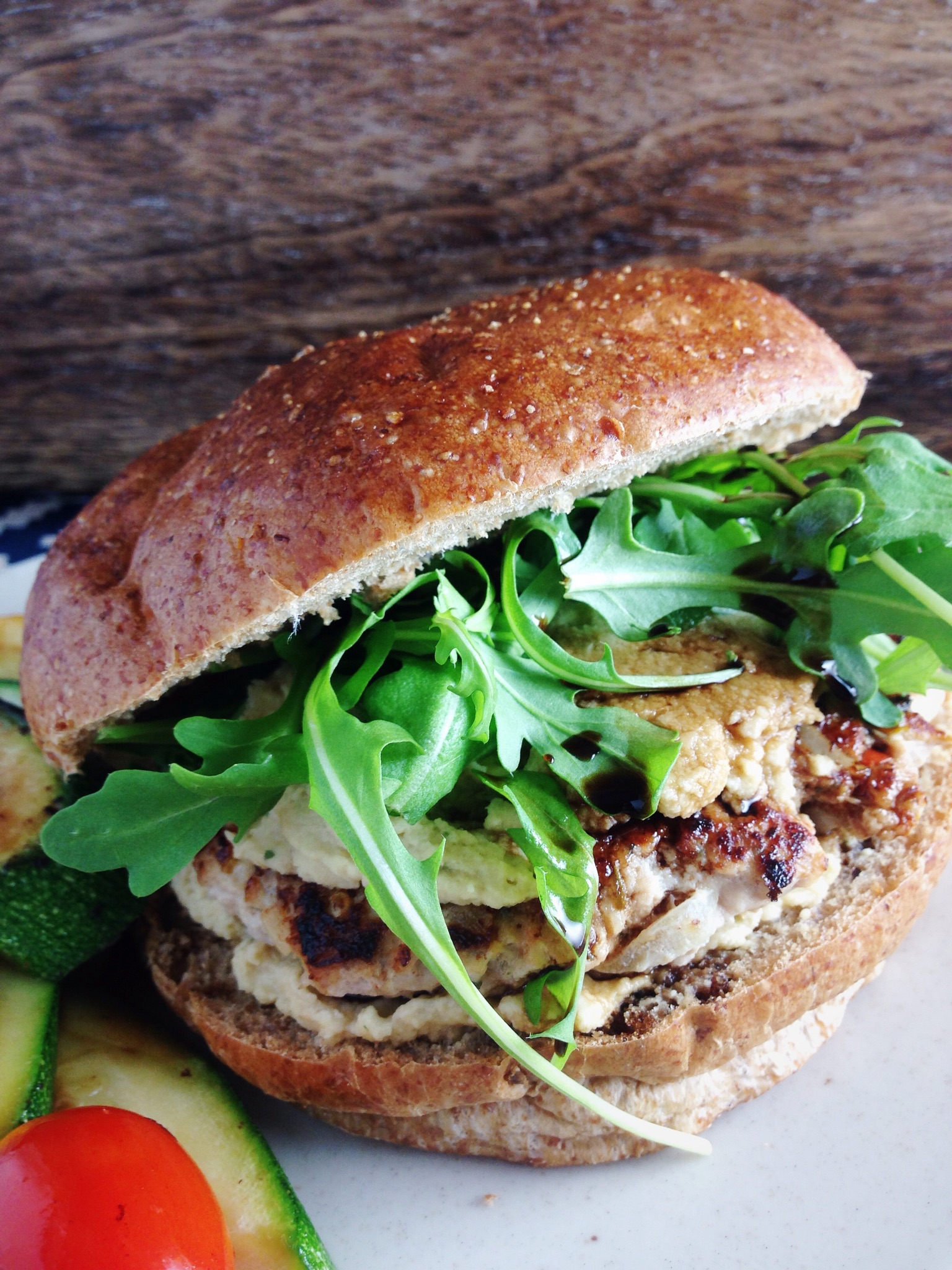 Chicken Burgers with Lemon Basil Hummus
