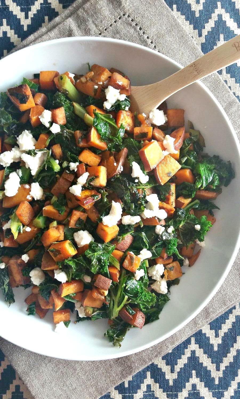 Sweet Potato Chopped Kale Salad with Honey Goat Cheese