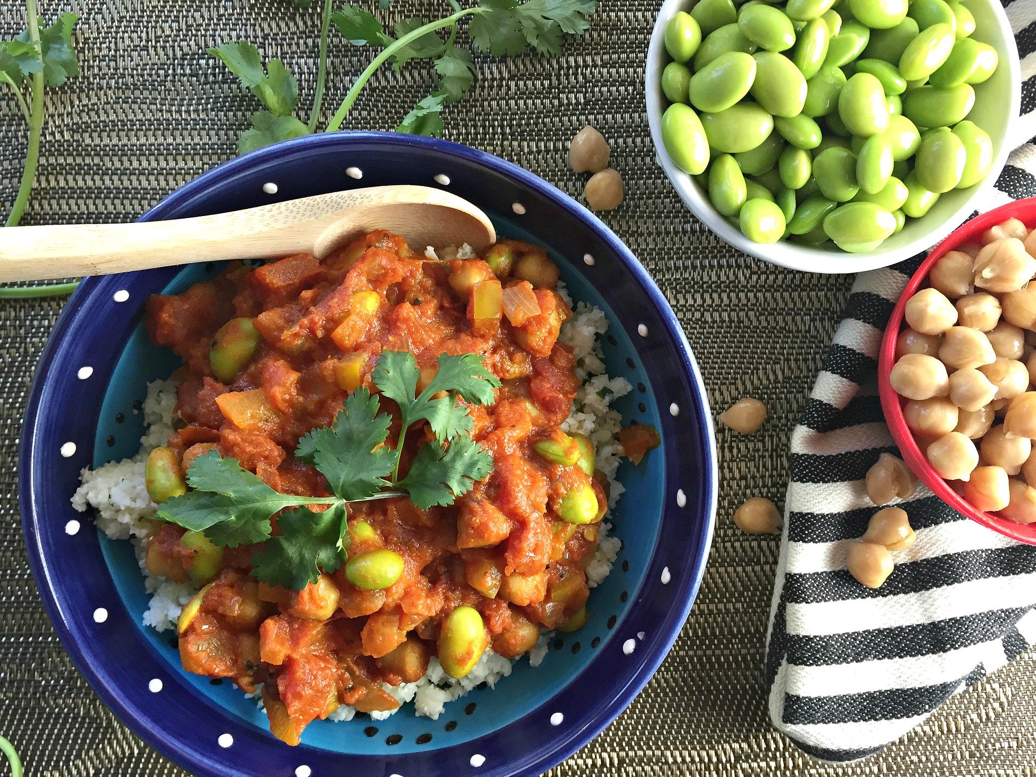 Moroccan Roasted Tomato Sauce over Cilantro Cauliflower Rice