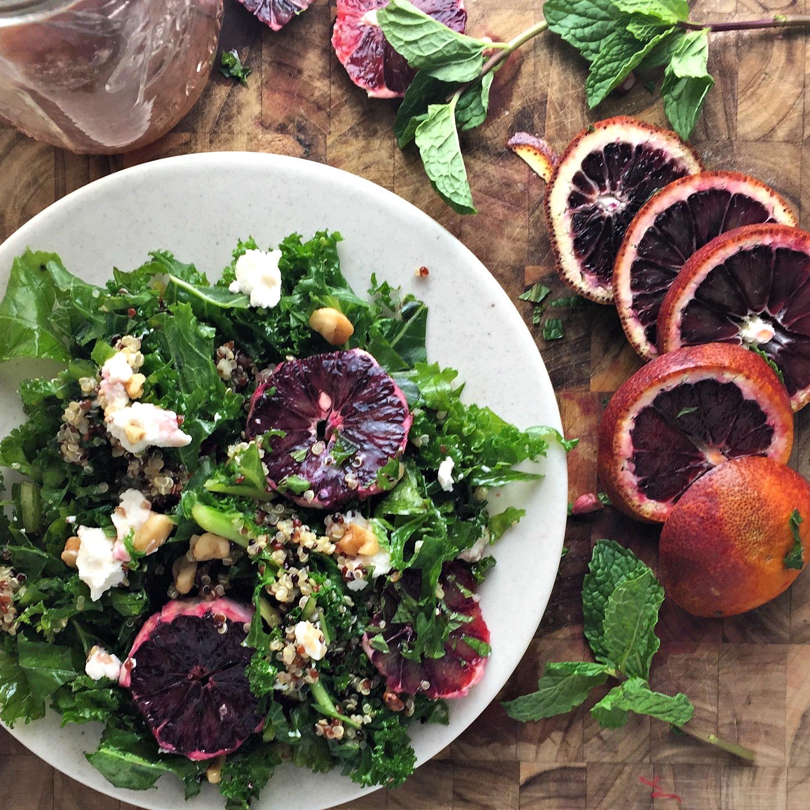 Kale, Quinoa and Walnut Salad with Blood Orange Vinaigrette