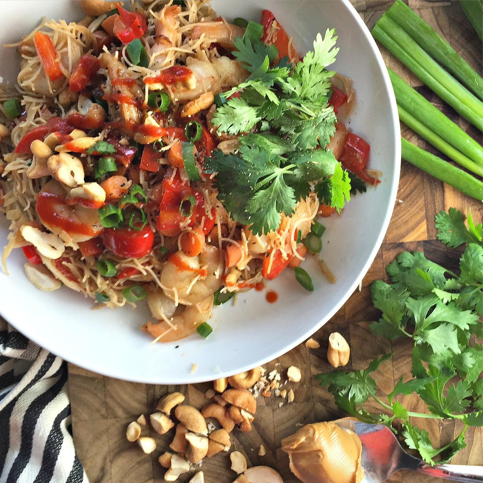 20-Minute Shrimp Brown Rice Noodle Bowls with Peanut Sauce