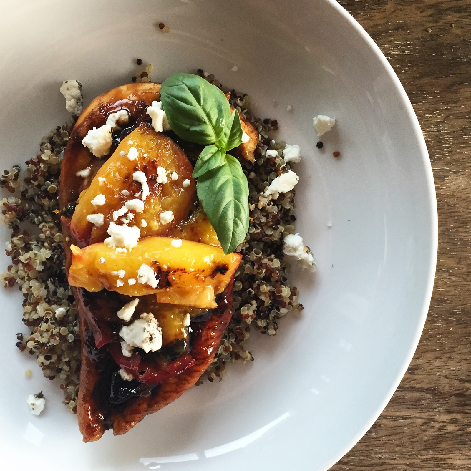Citrus-Balsamic Chicken with Nectarines, Basil & Goat Cheese