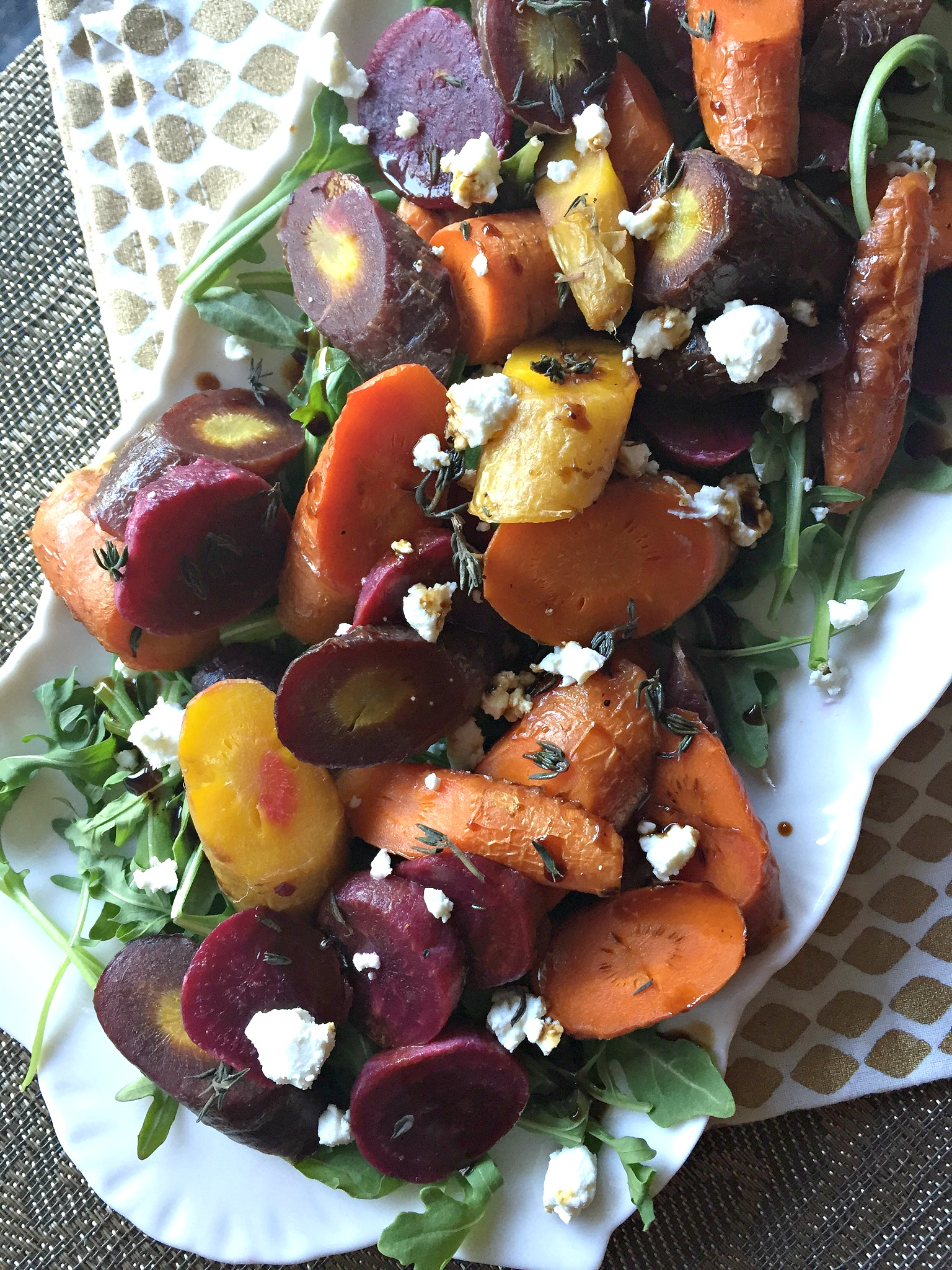 Thyme Roasted Carrots and Beets with Balsamic and Goat Cheese
