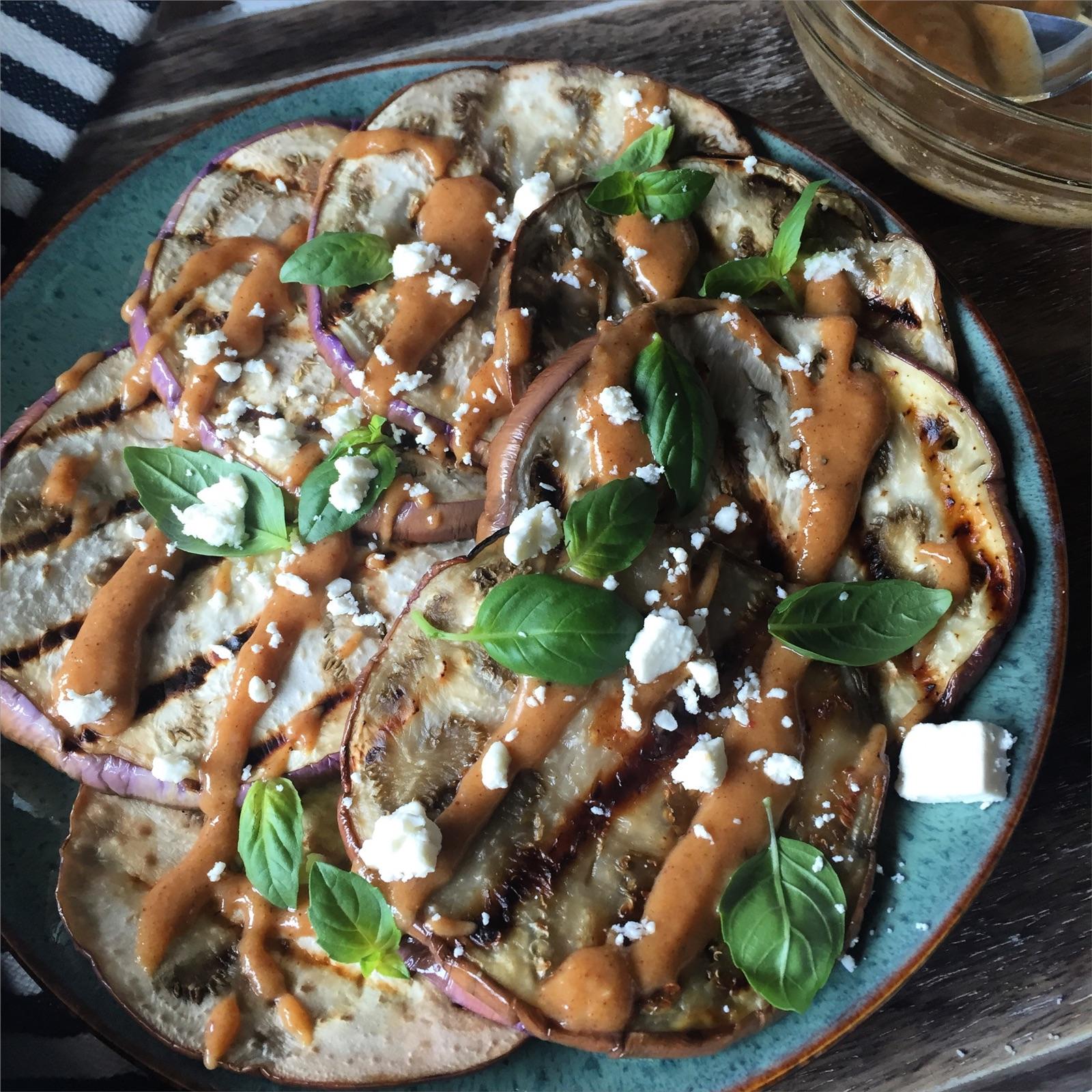 Grilled Eggplant with Harissa Tahini Sauce