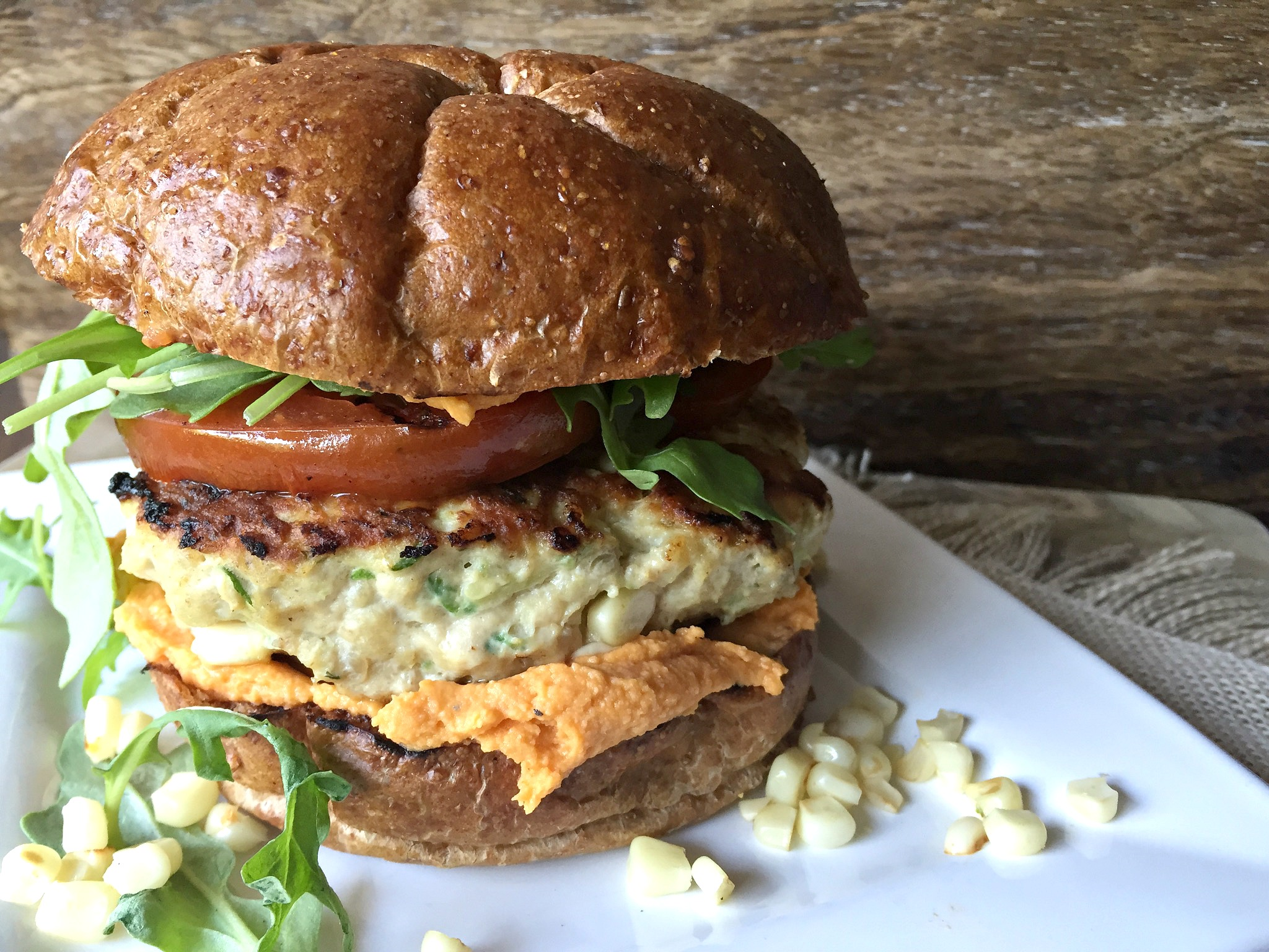 Zucchini and Corn Chicken Burgers with Roasted Red Pepper Hummus