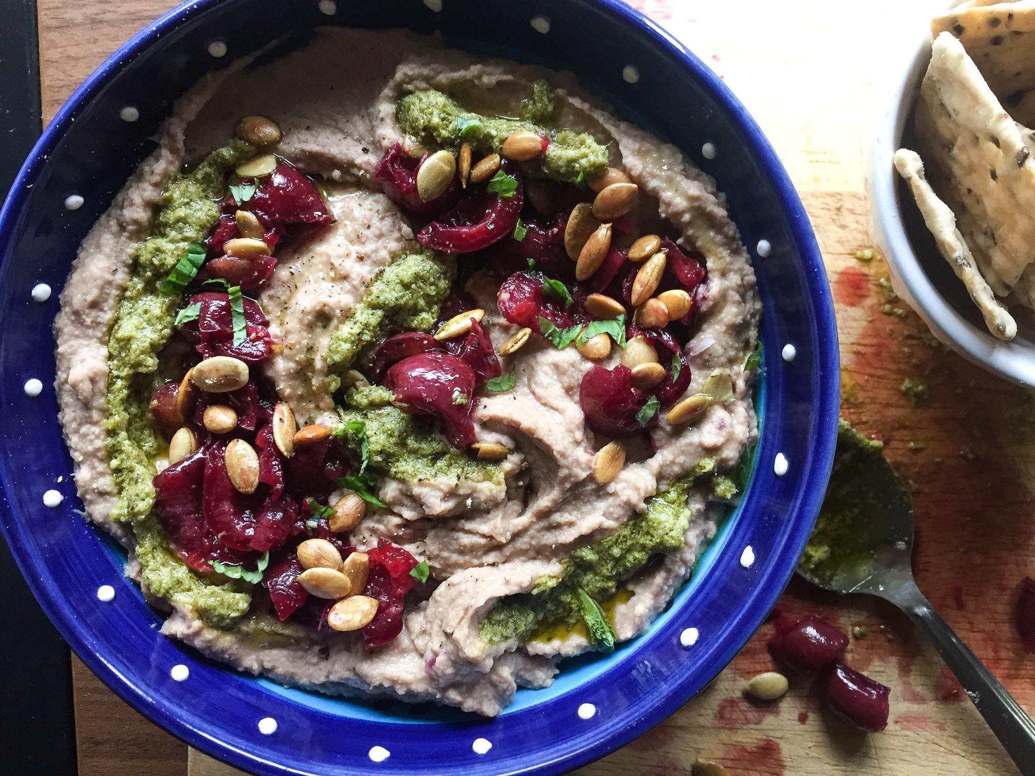 Balsamic Roasted Cherry and Pesto Hummus