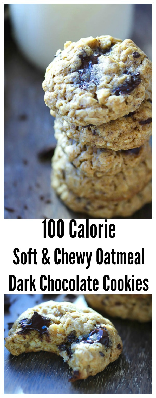 Soft and Chewy Oatmeal Dark Chocolate Cookies made with whole grains for only 100 calories per cookie | dishingouthealth.com