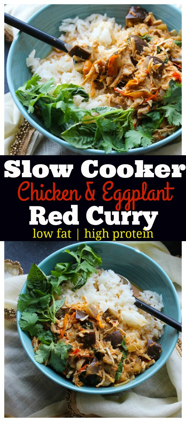 Slow Cooker Chicken and Eggplant Red Curry; an easy, flavorful meal that is low in fat and high in protein. Perfect for weeknight meals! | dishingouthealth.com