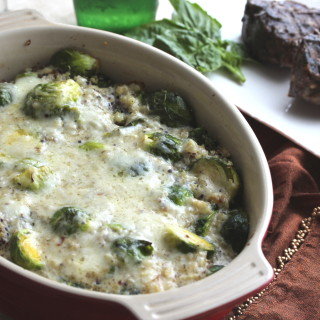 Brussels and Quinoa Creamy Garlic Gratin
