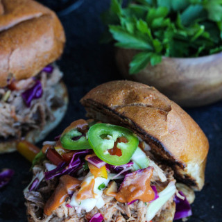 Slow Cooker Peanut BBQ Pulled Pork Sandwiches with Thai Ginger Slaw