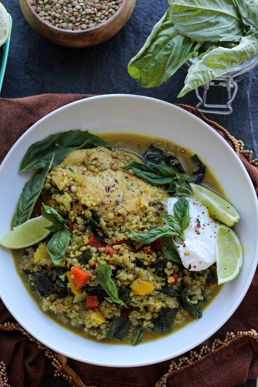 One Pot Chicken Coconut Curry with Lentils and Quinoa | dishingouthealth.com