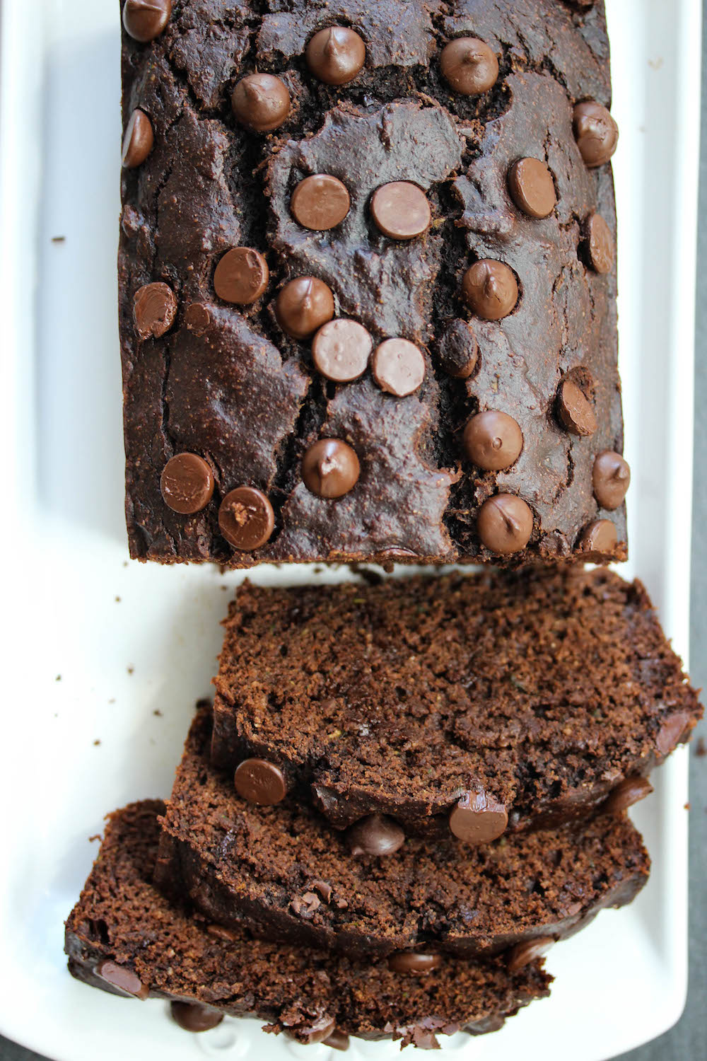 Double Chocolate Almond Butter Zucchini Bread; a nutritious, oil-free, dairy-free bread that tastes like dessert, yet is healthy enough for breakfast   dishingouthealth.com