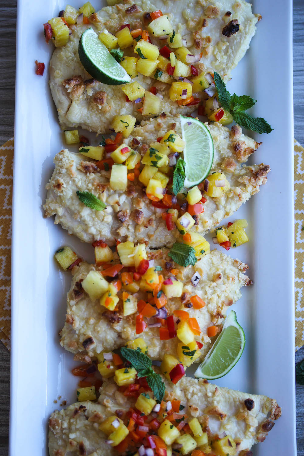 Macadamia Crusted Chicken With Pineapple Mint Salsa