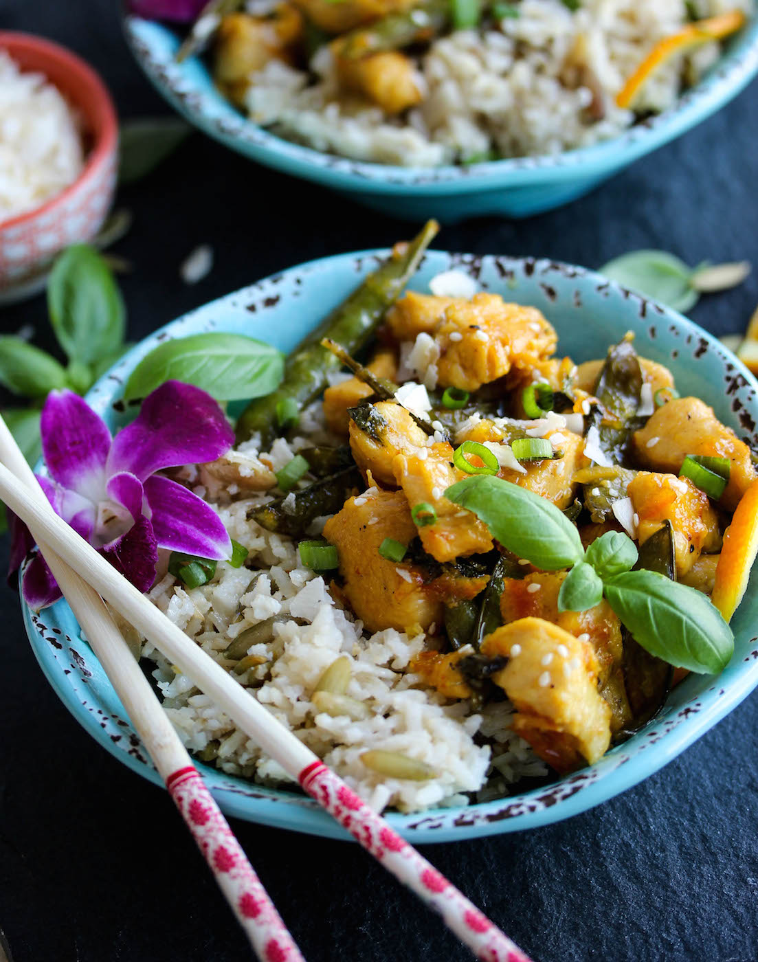 30 Minute Orange Basil Chicken with Coconut Rice | dishingouthealth.com