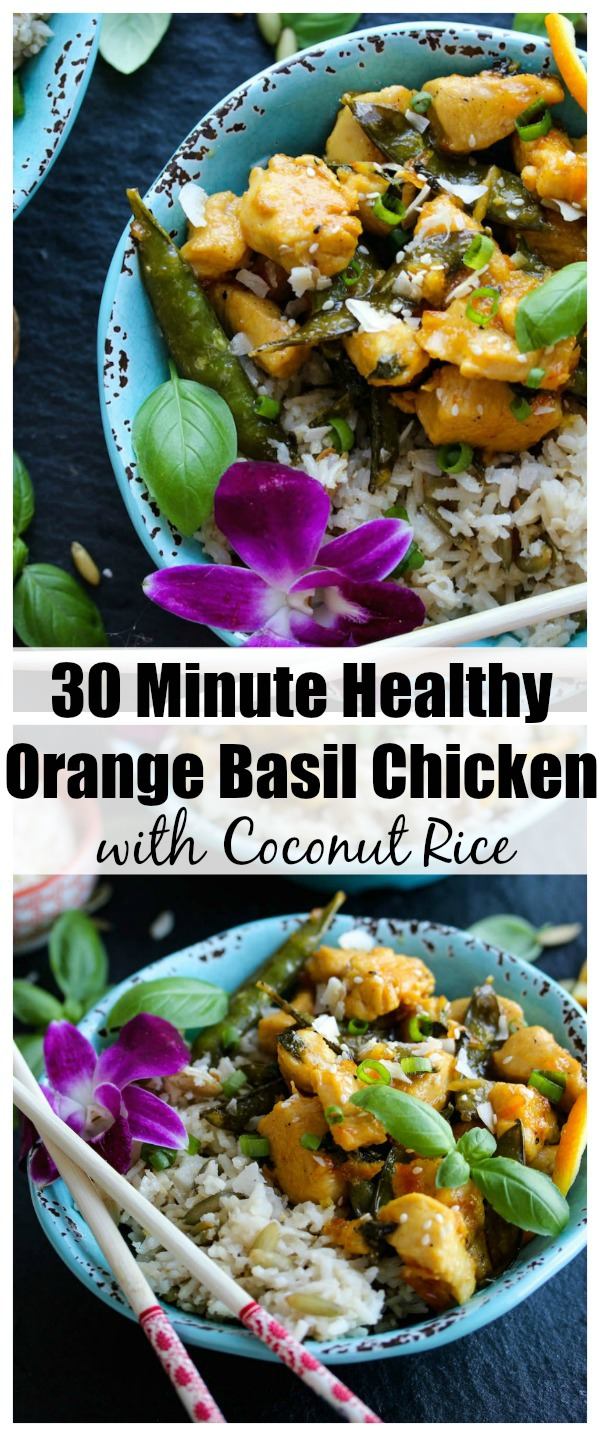 30 Minute Orange Basil Chicken with Coconut Rice