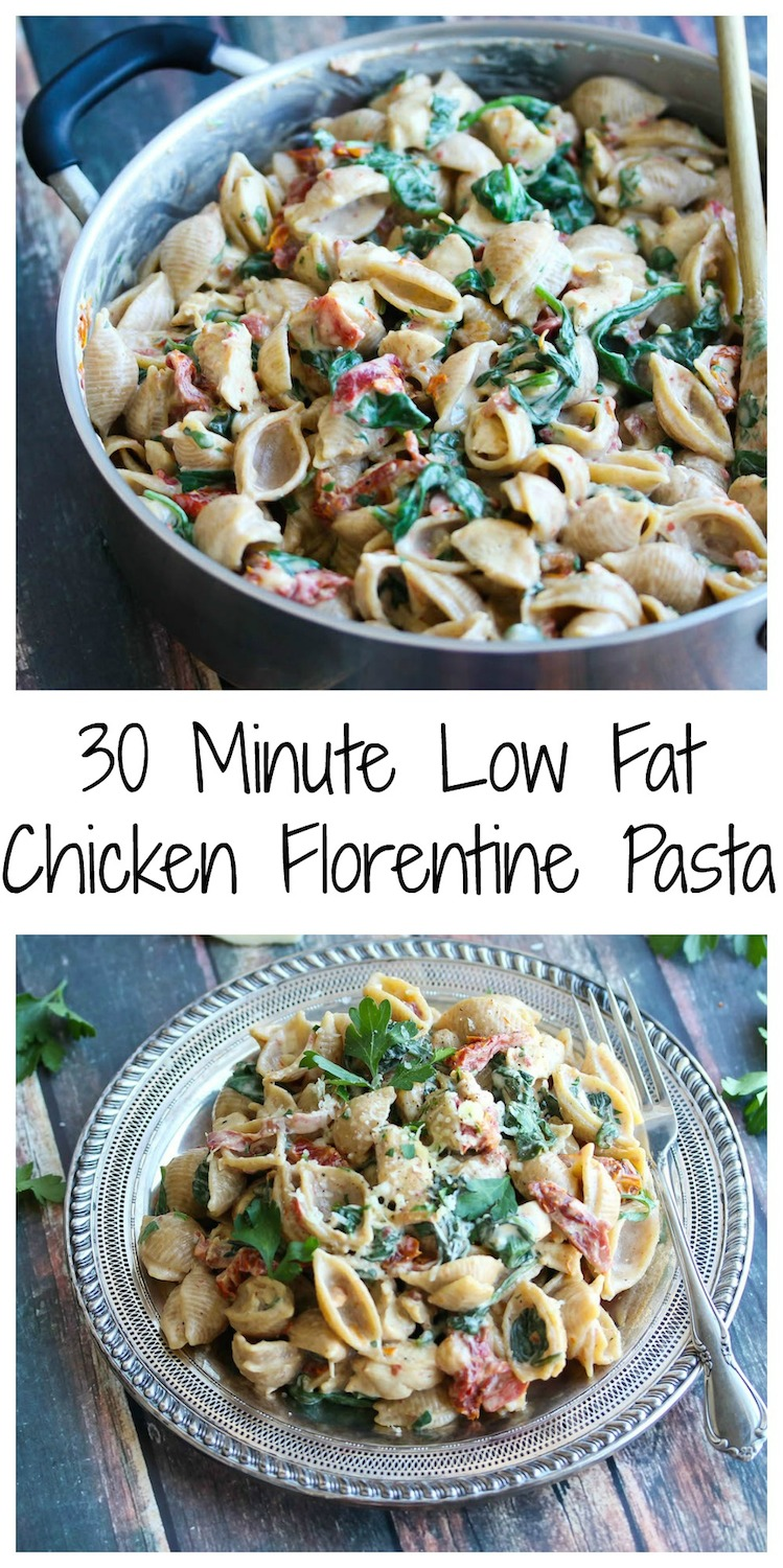 30 Minute Low Fat Chicken Florentine Pasta | Dishing Out Health