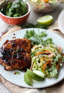 Ginger-Soy Glazed Pork Chops with Asian Slaw | dishingouthealth.com
