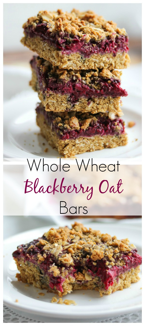 Whole Wheat Blackberry Oat Bars; rich in fiber and protein and great for a quick, healthy breakfast, snack or dessert! | dishingouthealth.com