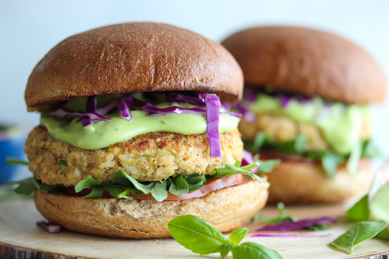 Cauliflower Hummus Burgers with Green Goddess Sauce